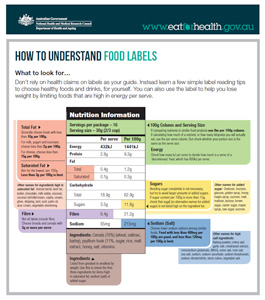 Small image of the an example Nutrition Information Panel. Links to larger version.